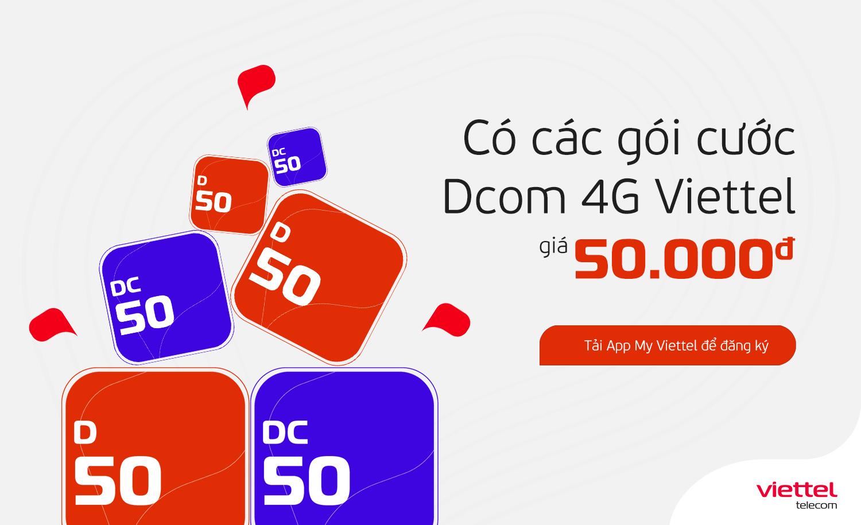 Cú pháp đăng ký gói cước Dcom 4G Viettel chỉ với giá 50.000 đồng