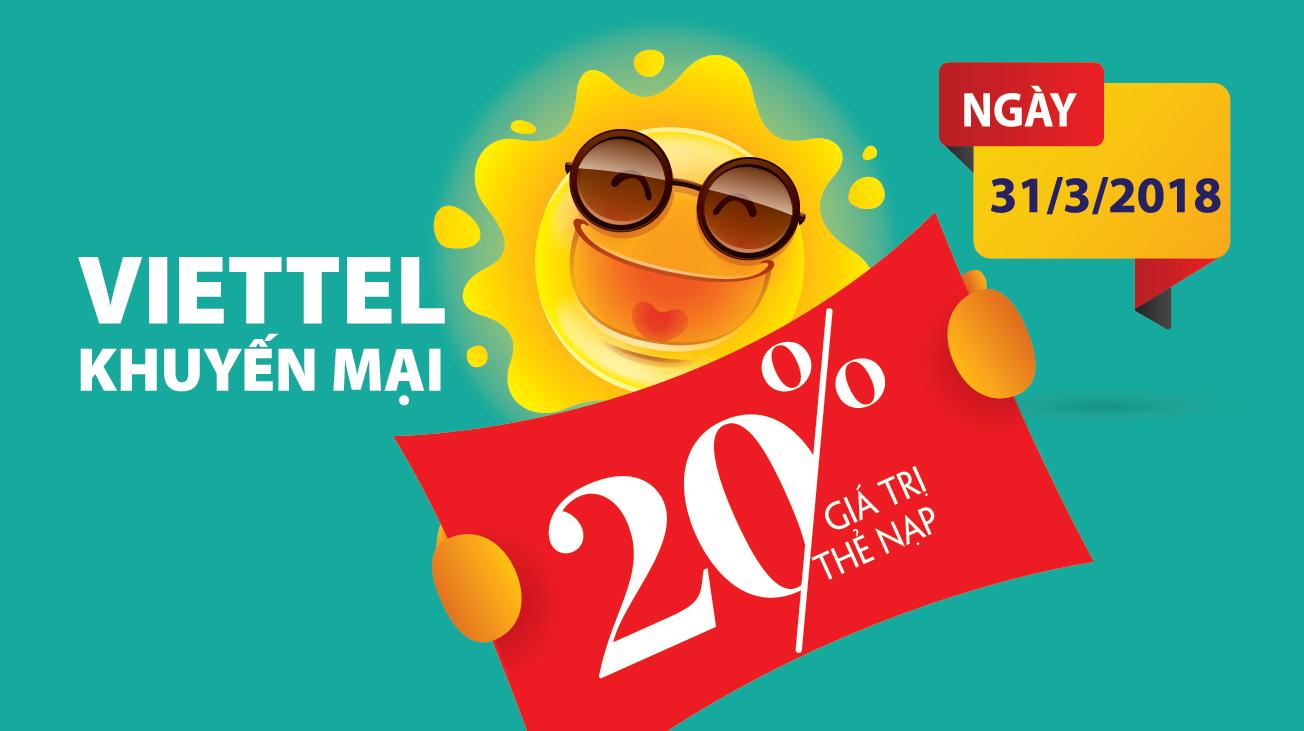Nhanh tay nạp thẻ Viettel trong lần khuyến mại cuối tháng 3/2018