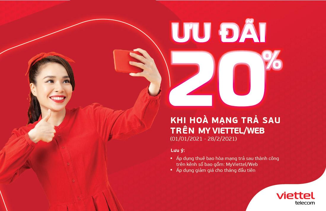 Ưu đãi giảm giá 20% khi hòa mạng trả sau trên My Viettel /website Viettel Telecom