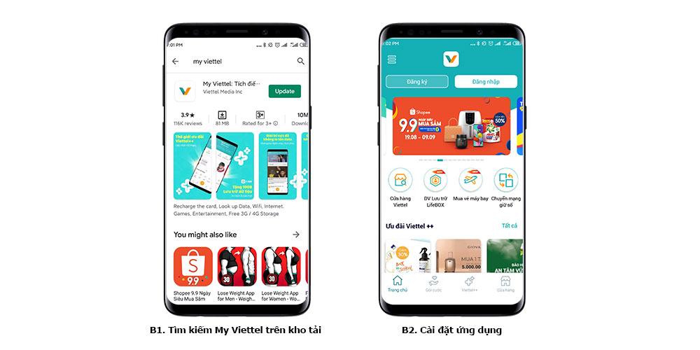 Tải xuống ứng dụng My Viettel từ các kho tải Android, iOS