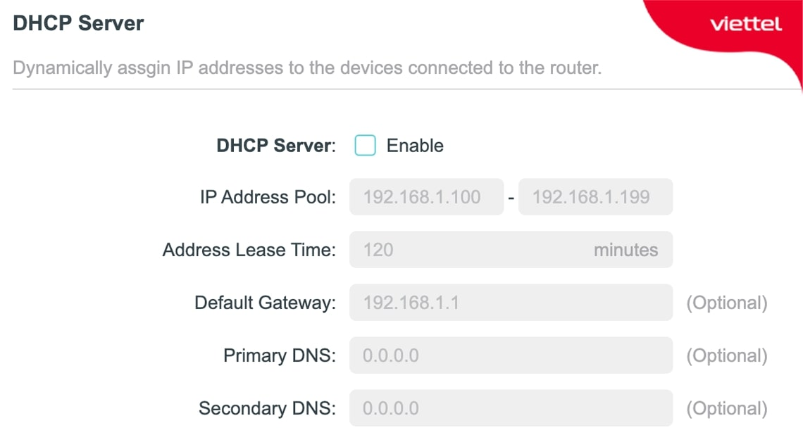 Bỏ chọn ô Enable để tắt DHCP Server nếu Router đang hoạt động ở chế độ Router Mode