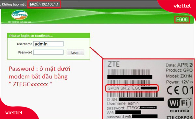 Modem Wifi của Viettel bạn truy cập đường link 192.168.1.1 để tiến hành cài đặt lại mặc định ban đầu.