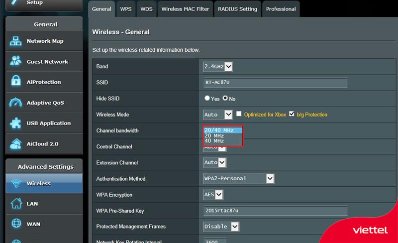 Minh họa cách thay độ rộng kênh trong control panel của Router Asus