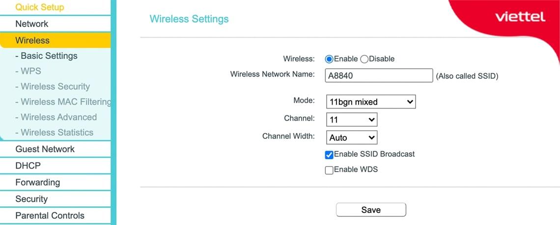 Cài đặt wifi trên Router chính