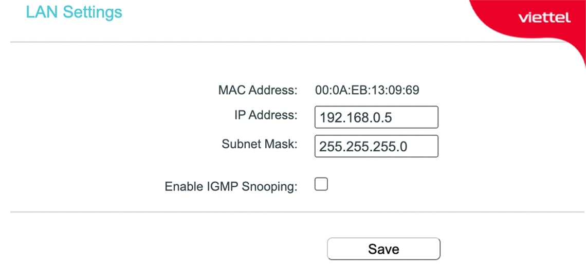 Đặt cho Router phụ một địa chỉ IP cố định