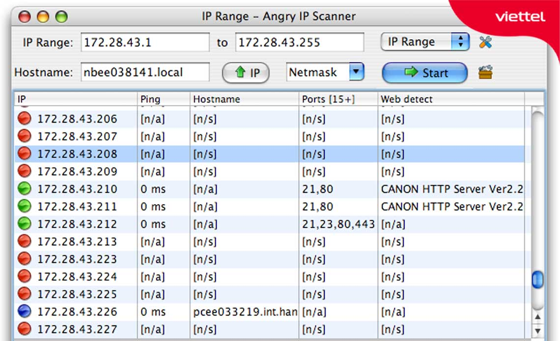 Giao diện Angry IP Scanner.