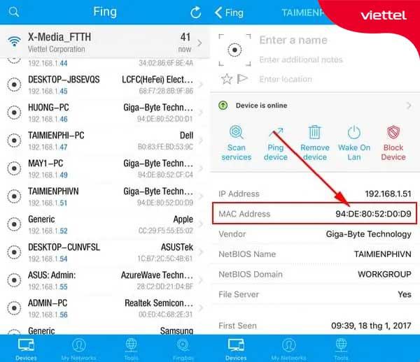 Giao diện hiển thị tất cả các thiết bị đang bắt wifi trên ứng dụng Fing