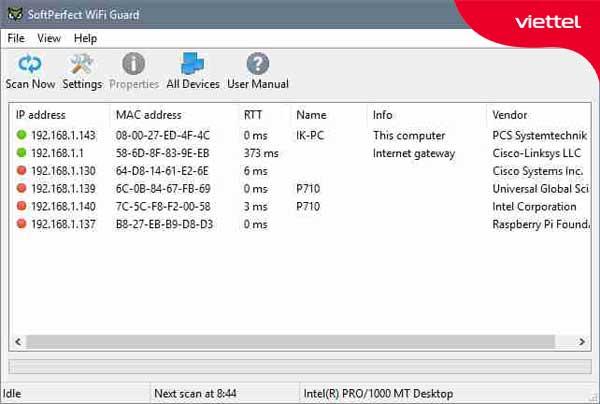 Giao diện SoftPerfect WiFi Guard.