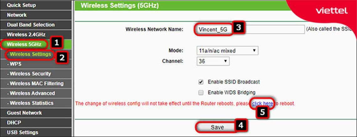 Giao diện thực hiện thiết lập các thông số cần thiết cho wifi 5Ghz Modem Wifi Tp-link.