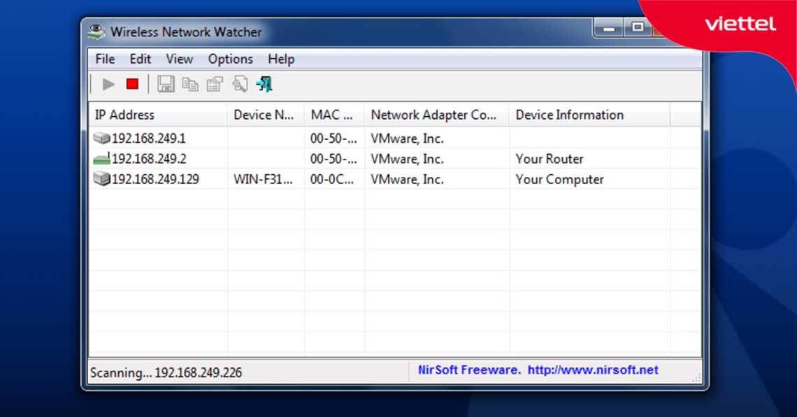 Giao diện Wireless Network Watcher.
