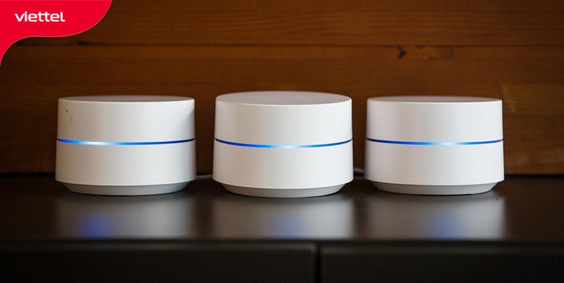 Hệ thống Wifi Mesh của Google mang tên Google Wifi có thiết kế mặt vát ấn tượng.