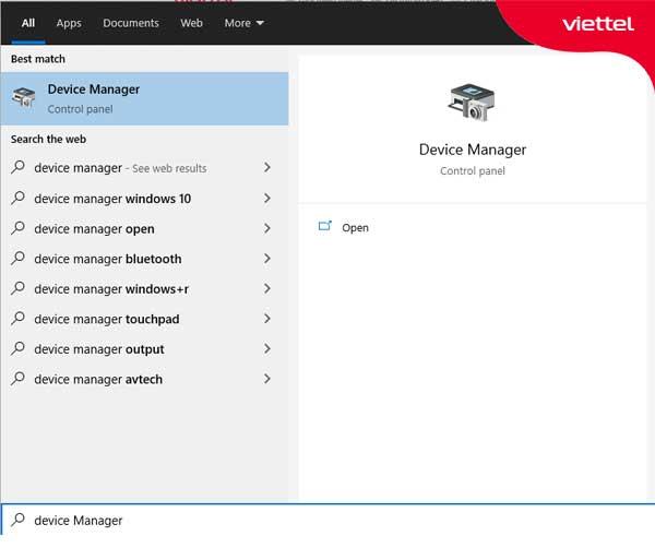 """Nhập cụm từ """"device manager"""" trong khung tìm kiếm trên Start Menu hoặc Cortana"""