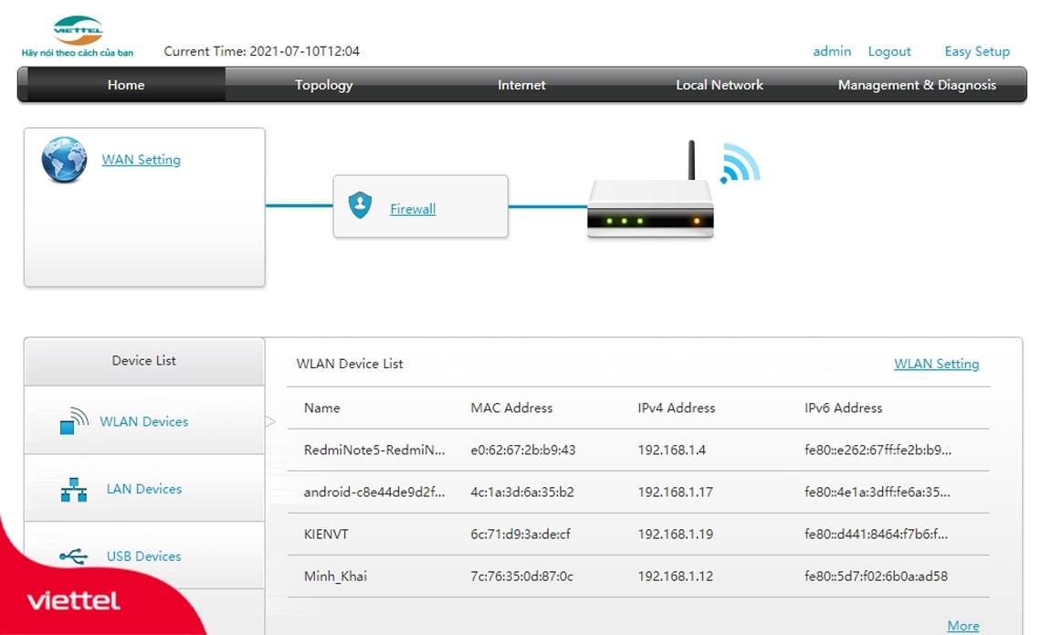 Số lượng thiết bị đang sử dụng Wifi sẽ hiển thị trong mục Device List của Modem Wifi Viettel