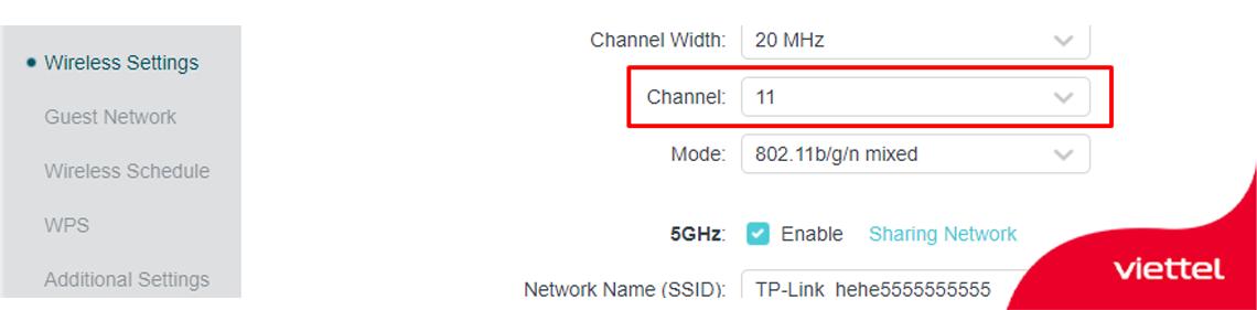 Thay đổi kênh truyền trên router