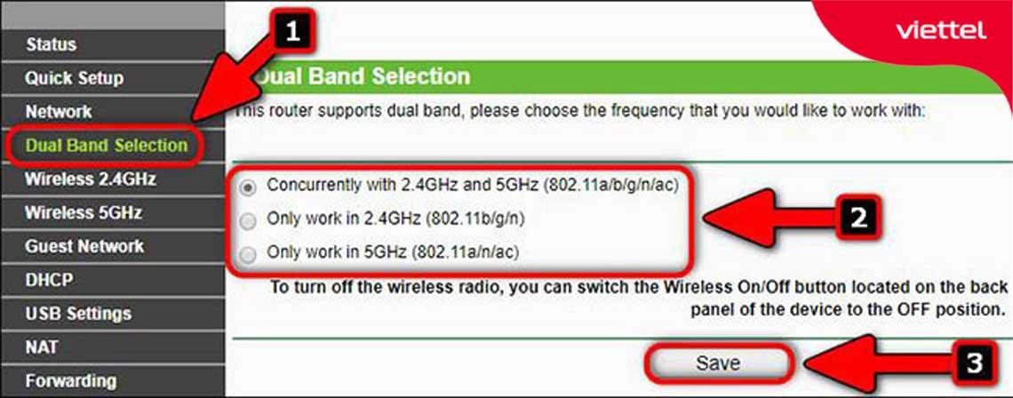 """Truy cập vào mục """"Dual Band Selection"""" trên thiết bị Tp-link Modem Wifi Viettel để thực hiện cài đặt wifi 5Ghz."""