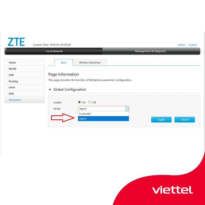Vào tab Basic -> Global Configuration -> Mode, chọn Controller-> ấn Apply