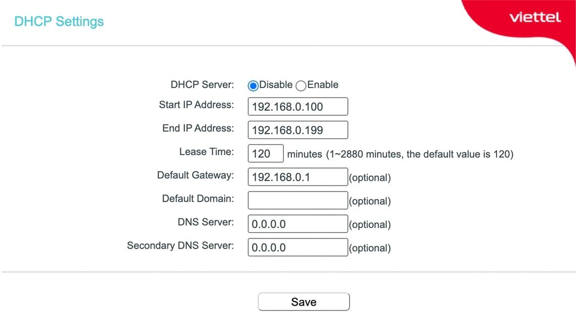 Vô hiệu hóa DHCP Server